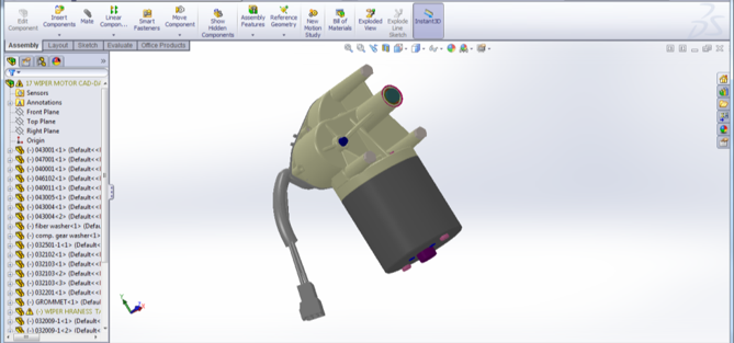 Example of a wiper motor's 3D model